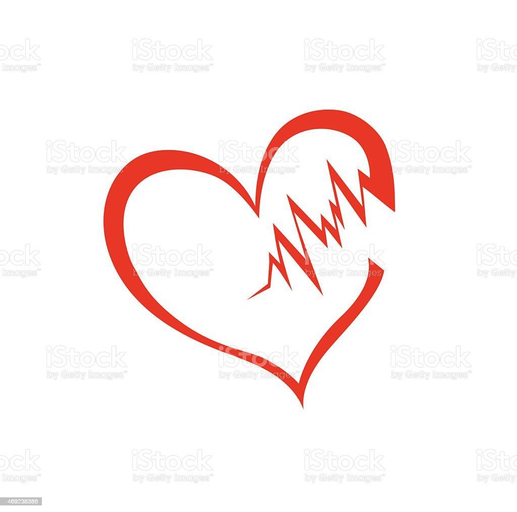 vector of broken heart outline isolated on white stock vector art