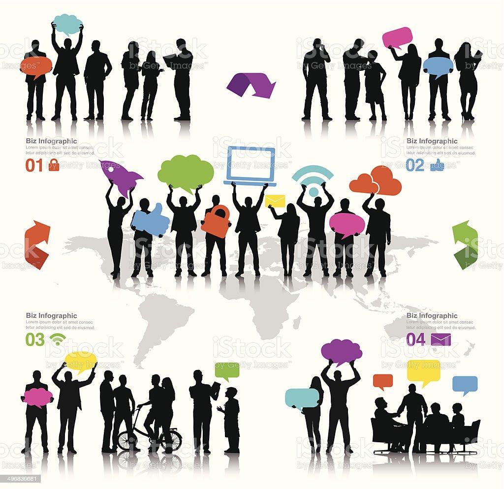 Vector of Business And Social Media vector art illustration
