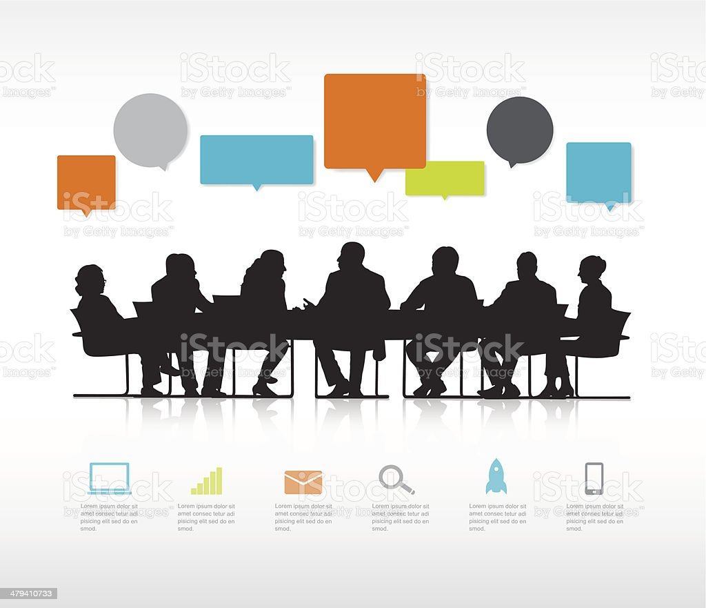 Vector of Business Meeting with Infographic and Speech Bubble vector art illustration
