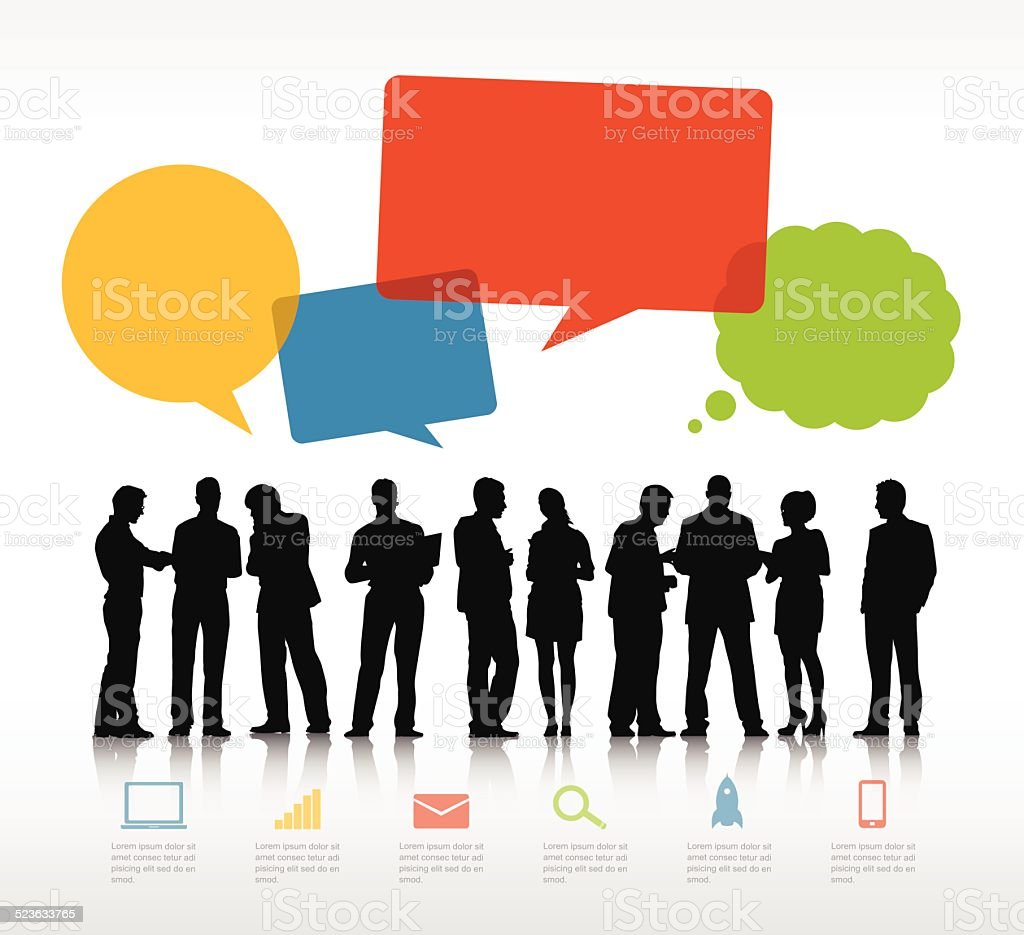 Vector of Business People and Empty Speech Bubbles vector art illustration