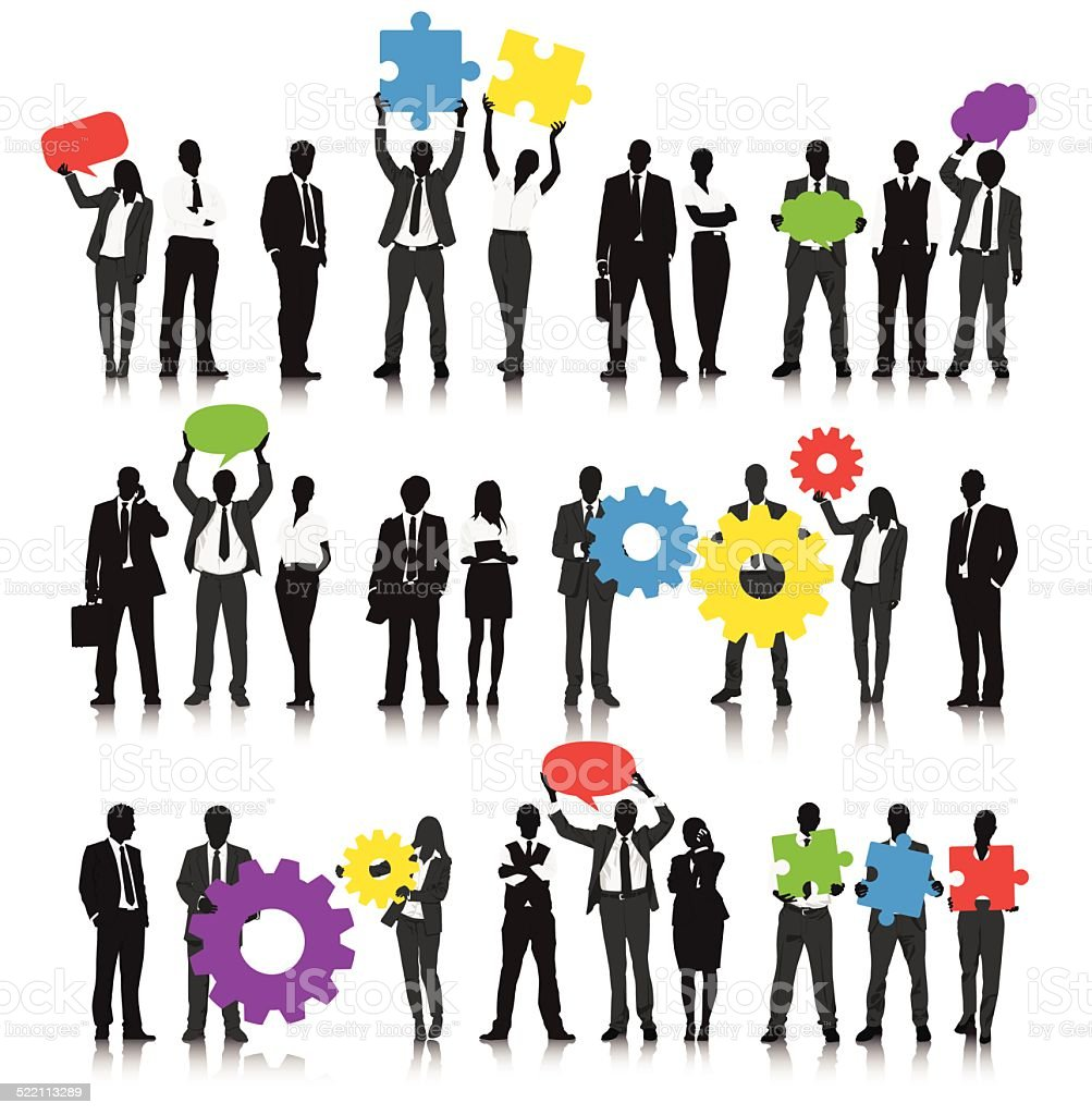 Vector of Business People Holding Gears vector art illustration