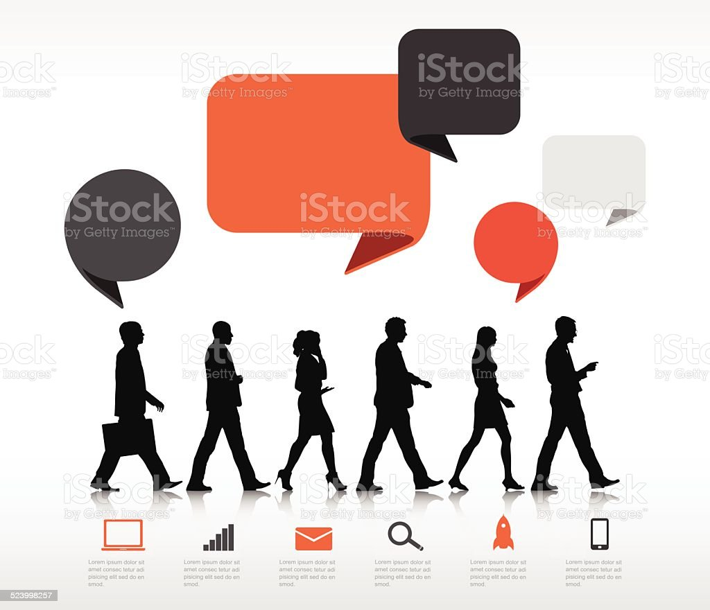 Vector of Business People Walking with Speech Bubble vector art illustration