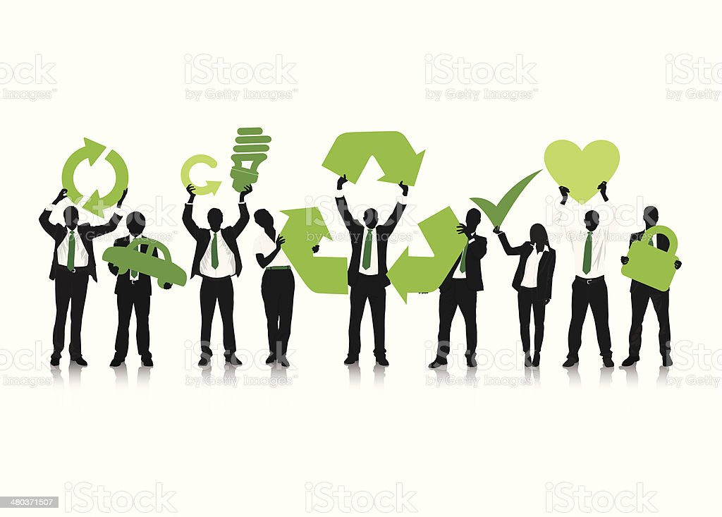 Vector of Business People With Recycling Concept vector art illustration
