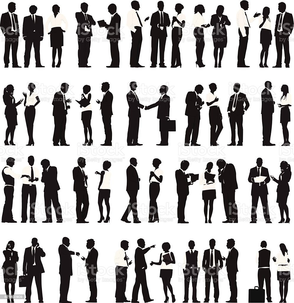 Vector of Business People Working in a Row vector art illustration