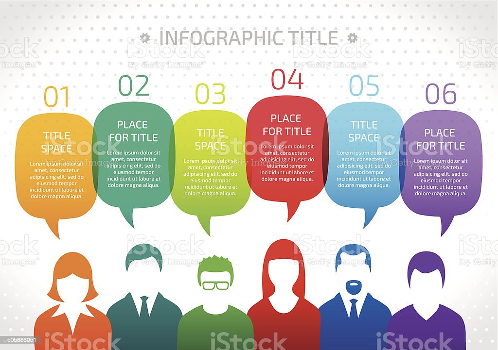 Vector of businesspeople with speech bubbles vector art illustration