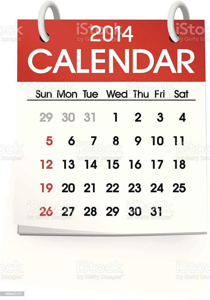 Vector of Calendar Blank 2014 royalty-free stock vector art