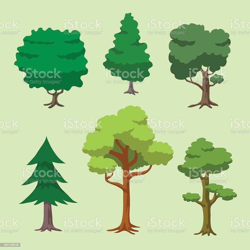 Vector of Cartoon Tree Set vector art illustration