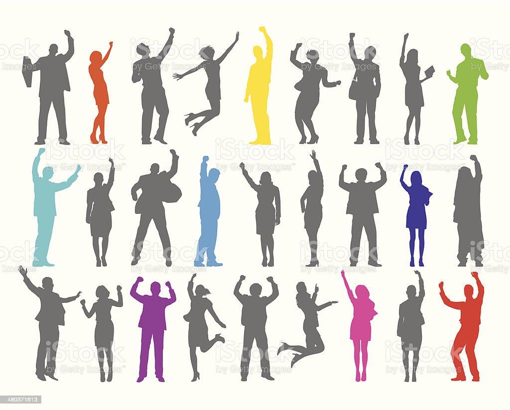 Vector of Celebrating Business People vector art illustration