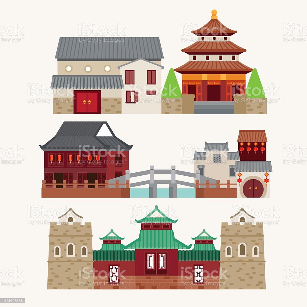 Vector of Chinatown vector art illustration