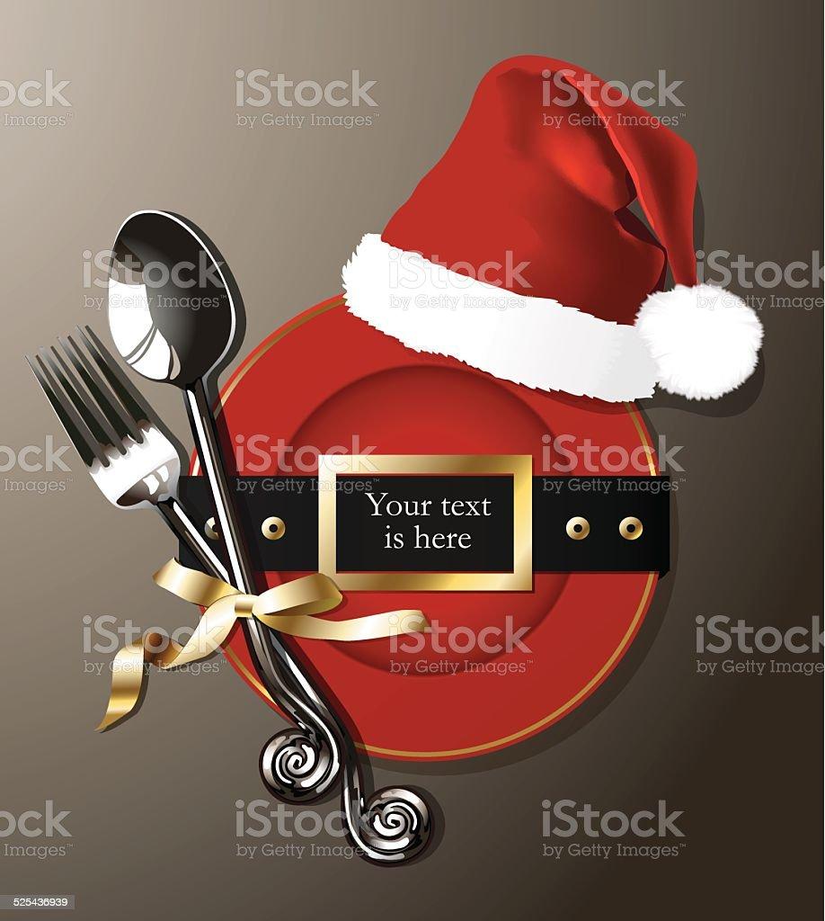 Vector of Christmas table setting vector art illustration