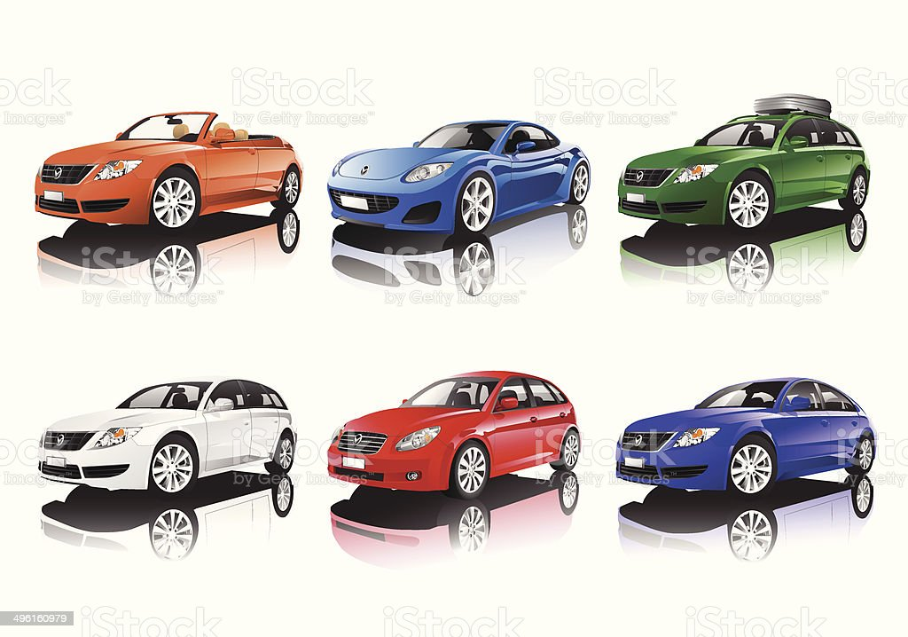 Vector of Collection of Car vector art illustration