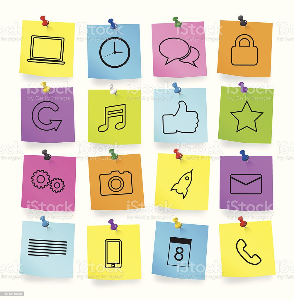 Vector of Computer Icons on Note Pad vector art illustration