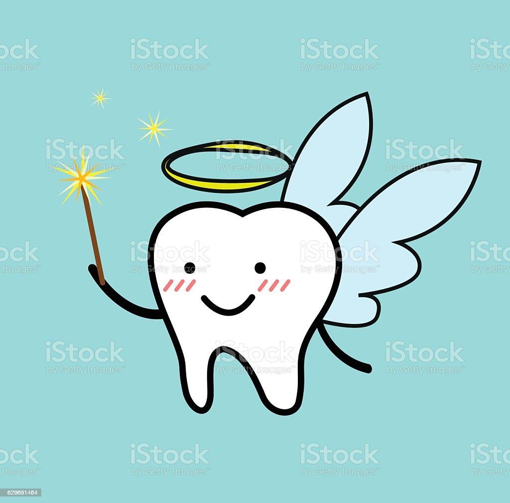Vector of cute cartoon of tooth fairy vector art illustration