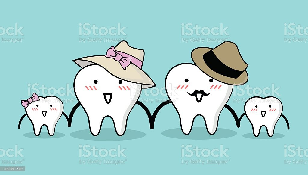 Vector of Cute healthy white teeth family for Health care vector art illustration