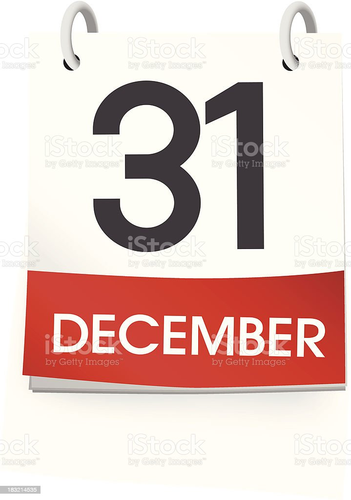 Vector of December 31st Calendar royalty-free stock vector art