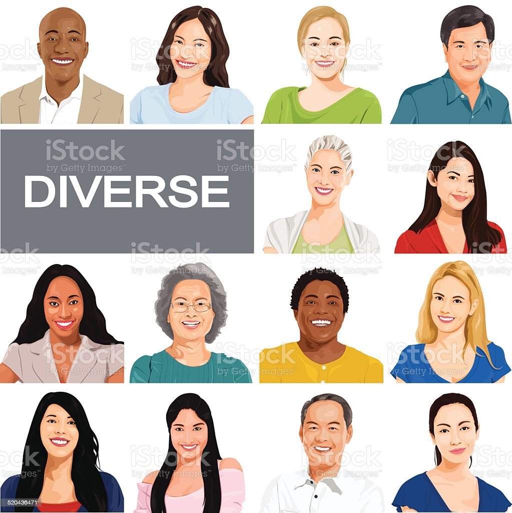 Vector of Diverse People on White Background vector art illustration