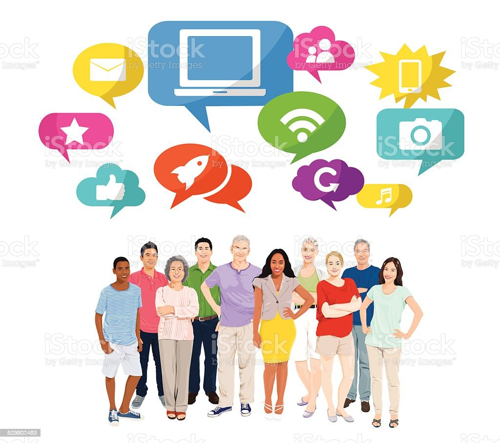 Vector of Diverse People with Social Media Concept vector art illustration