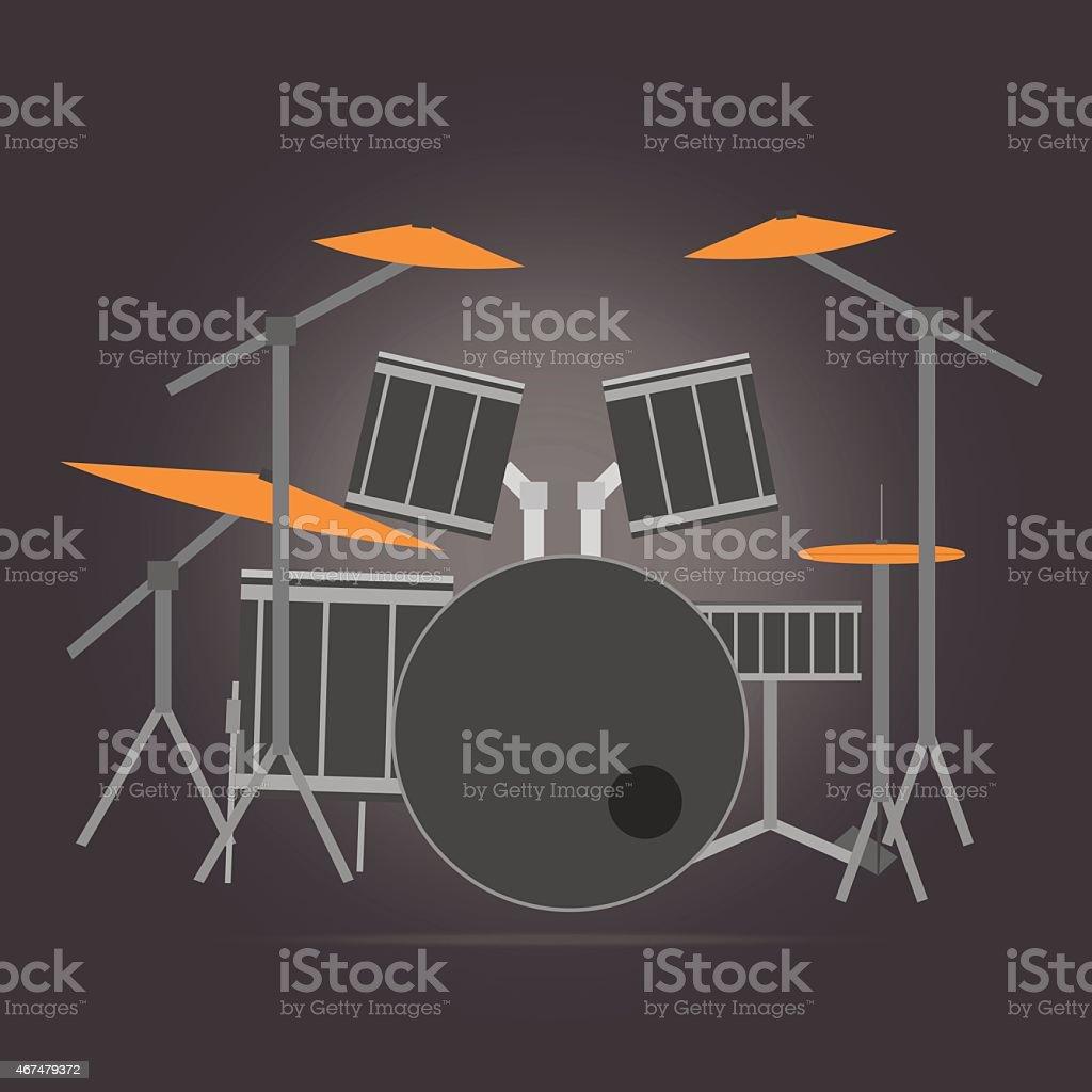 Vector of drum set flat design vector art illustration