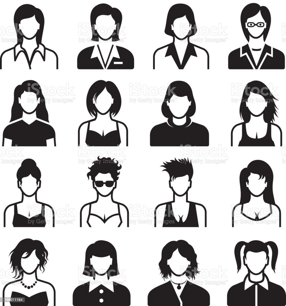 Vector of female body types, black on white royalty-free stock vector art