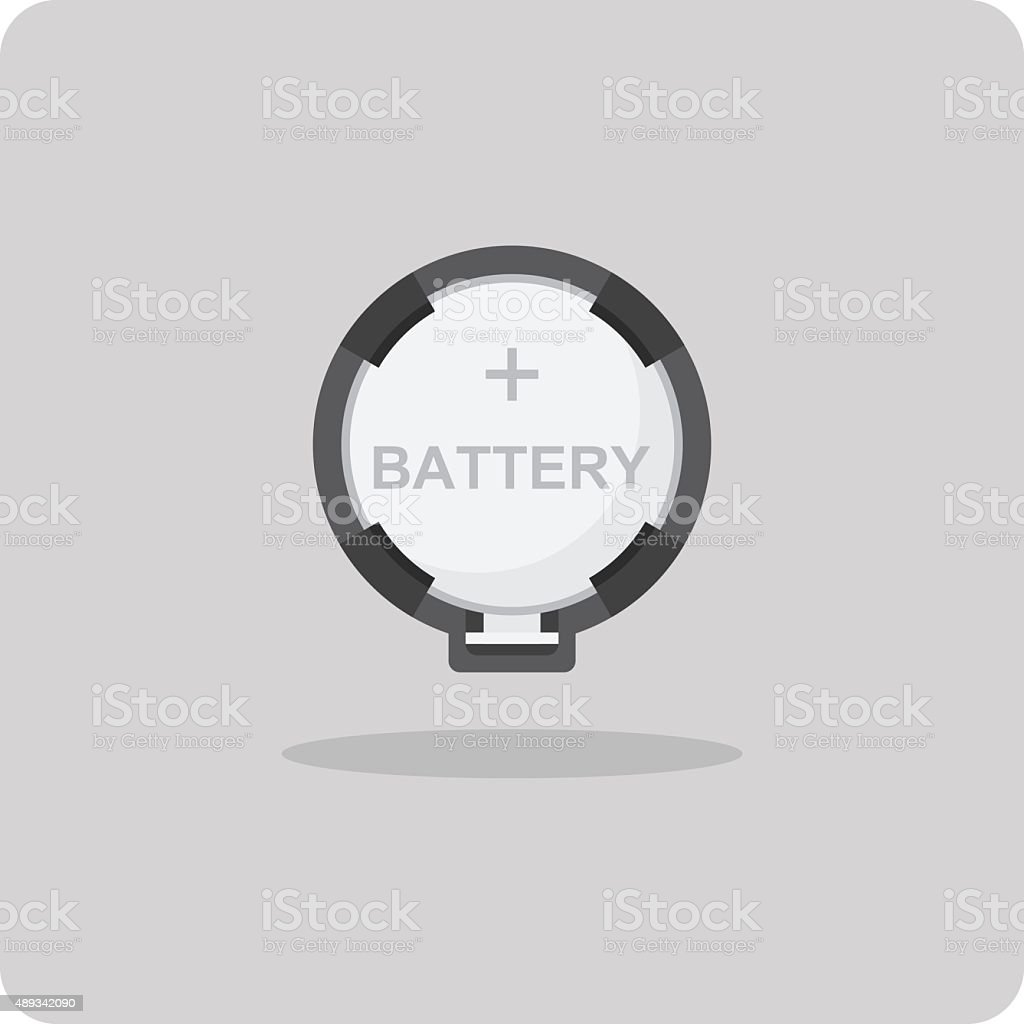 Vector of flat icon, button cell battery for motherboard vector art illustration