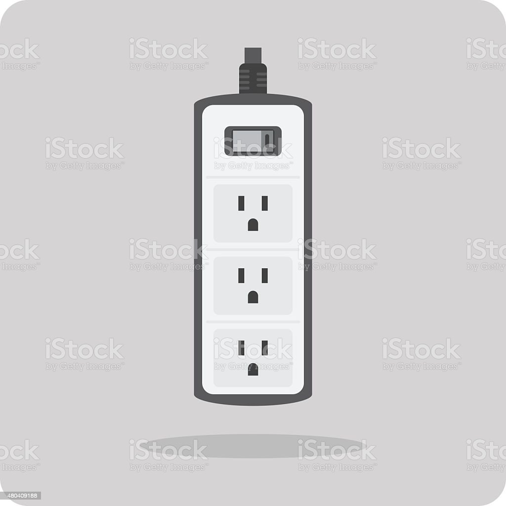 Vector of flat icon, electric power strip vector art illustration