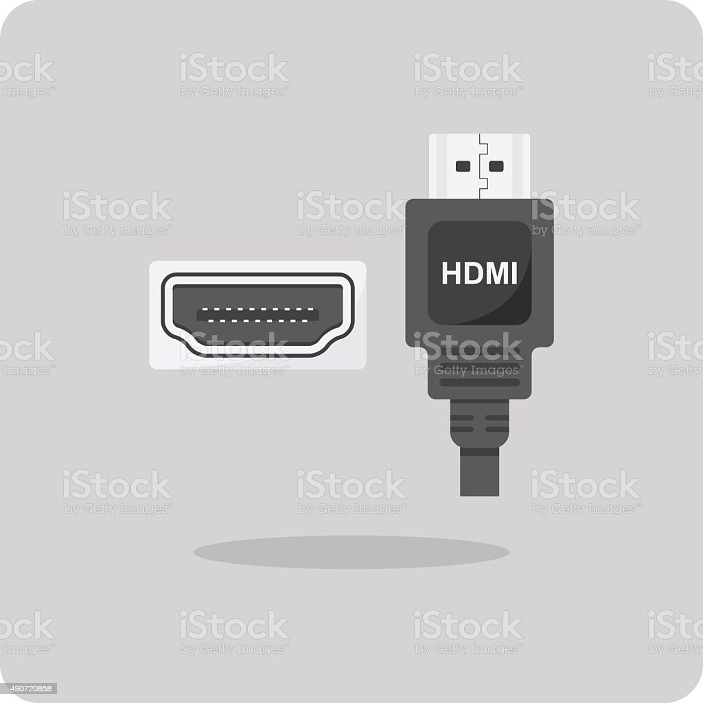 Vector of flat icon, HDMI connector vector art illustration