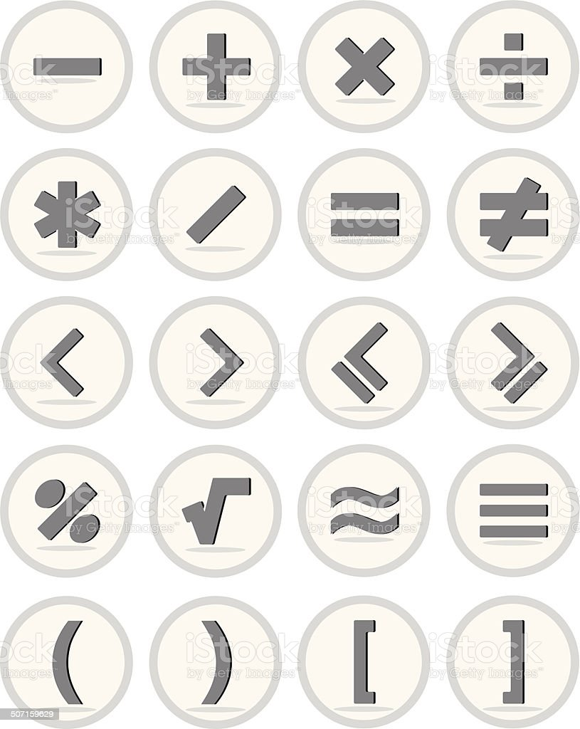 Vector of flat icon, mathematical symbols set vector art illustration