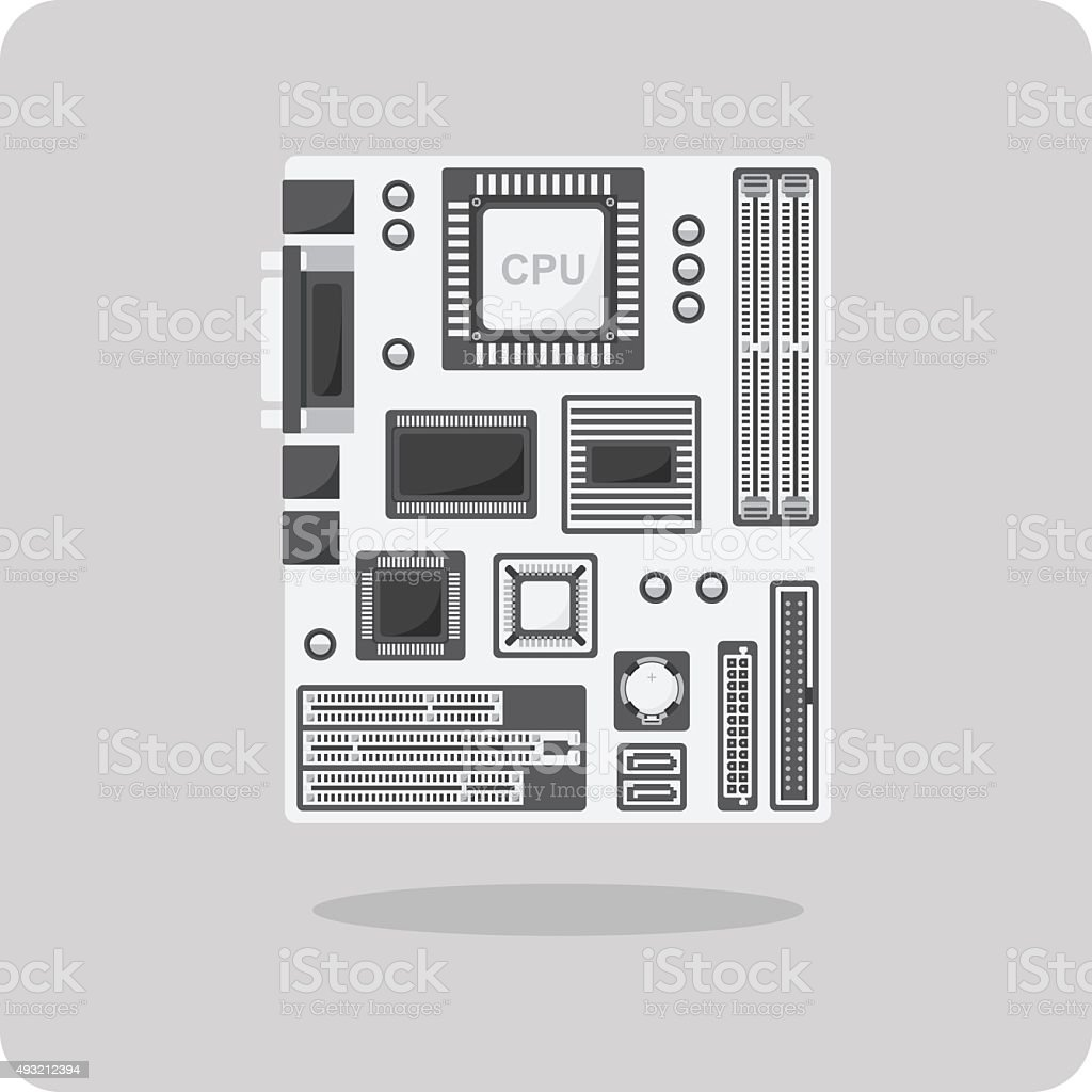Vector of flat icon, motherboard for computer vector art illustration