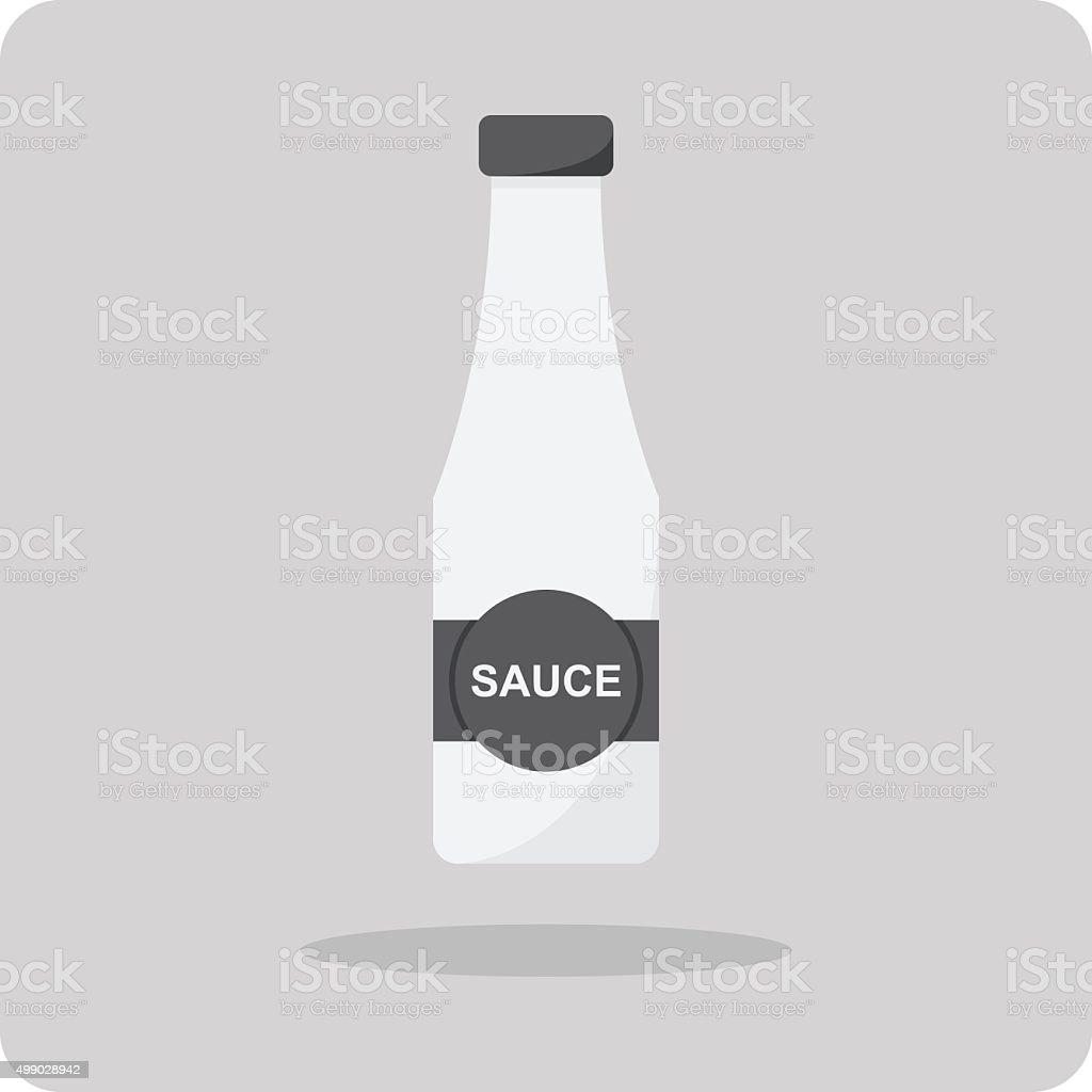 Vector of flat icon, Sauce bottle vector art illustration