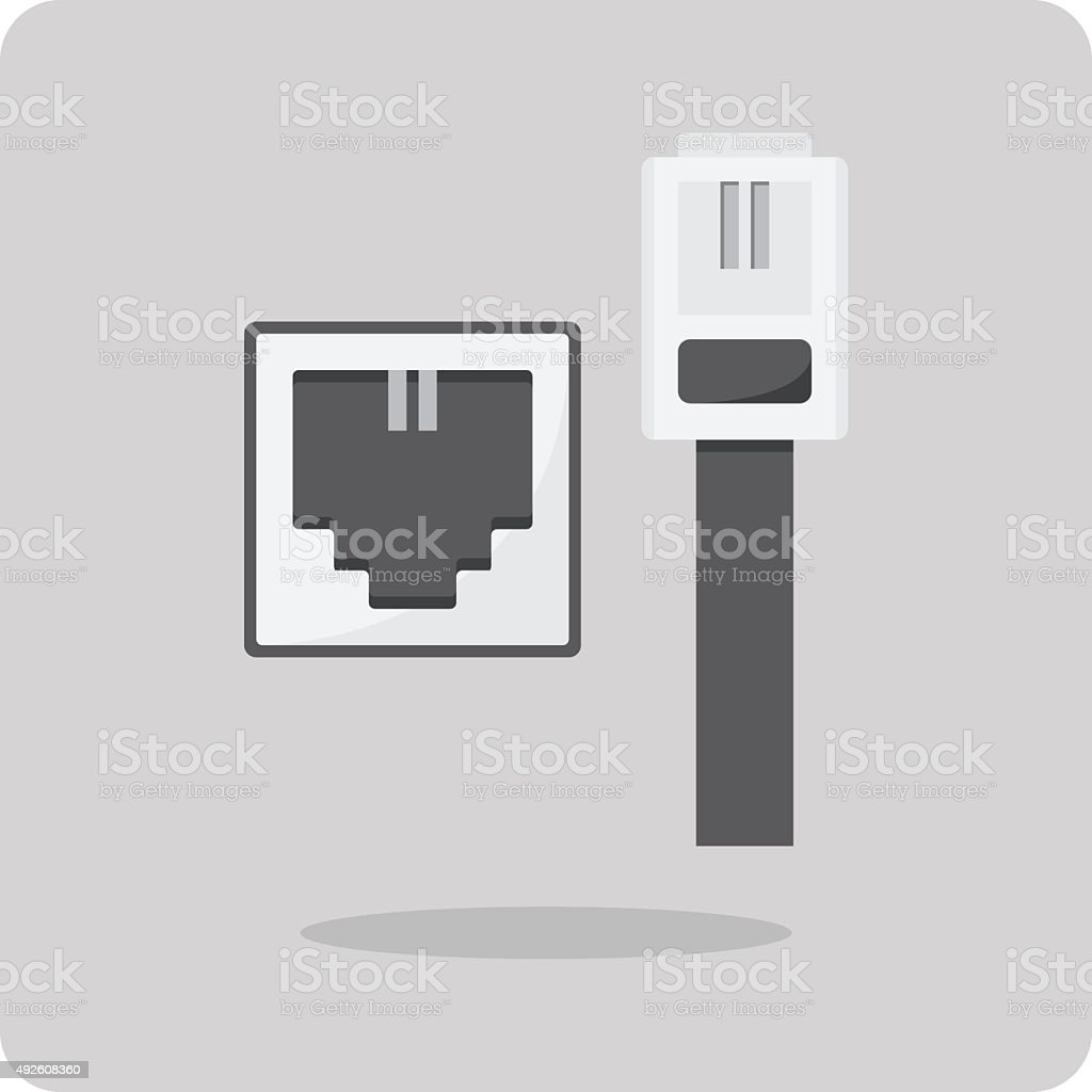 Vector of flat icon, telephone cable connector vector art illustration
