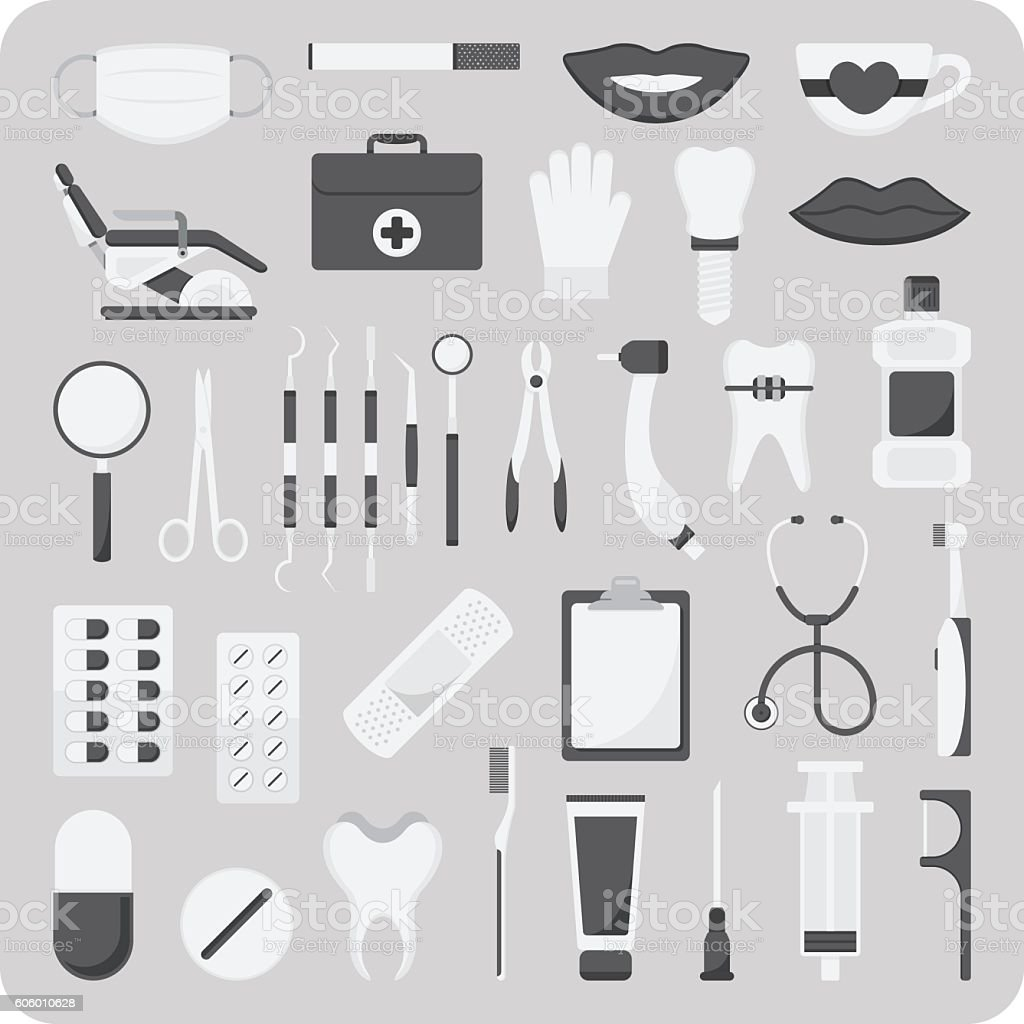 Vector of flat icons, Dental set vector art illustration