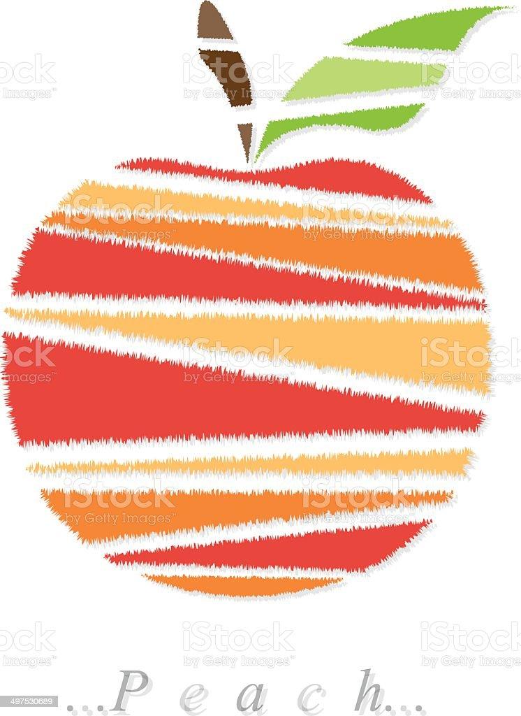 Vector of fruit, peach icon vector art illustration