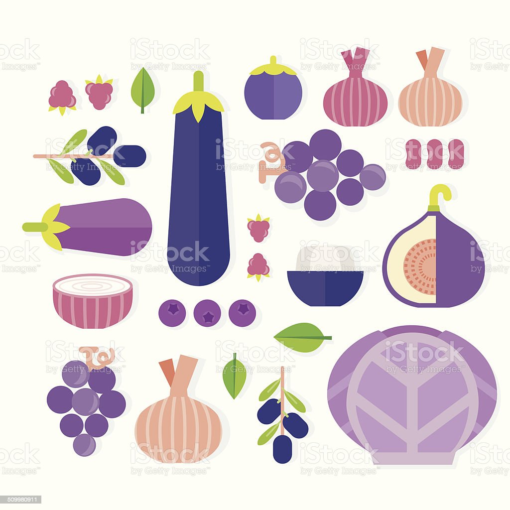 vector of fruits and vegetables vector art illustration