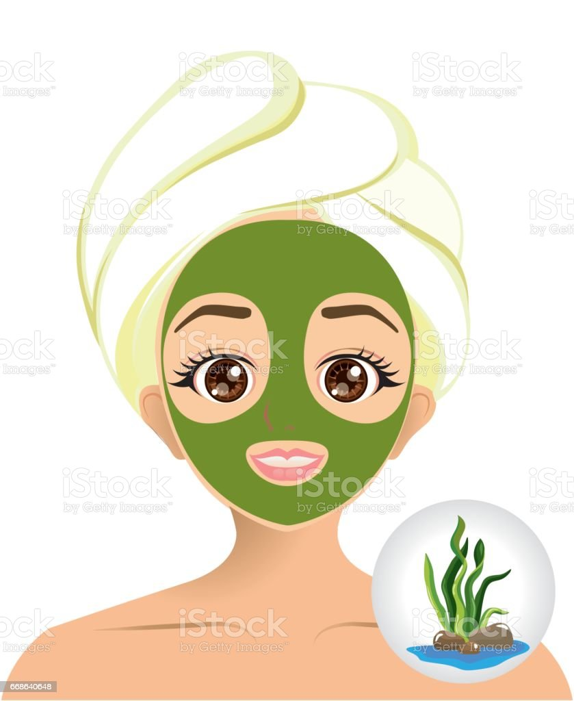 Vector of girl using seaweed facial sheet mask for treatment her face vector art illustration