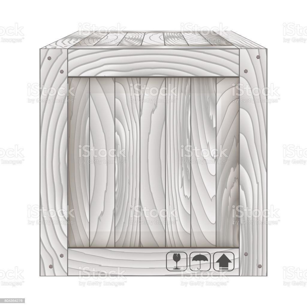 Vector of gray wooden box on white vector art illustration