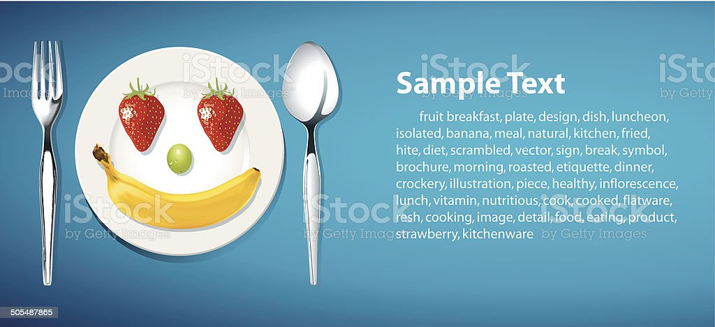 Vector of happy healthy plate background vector art illustration