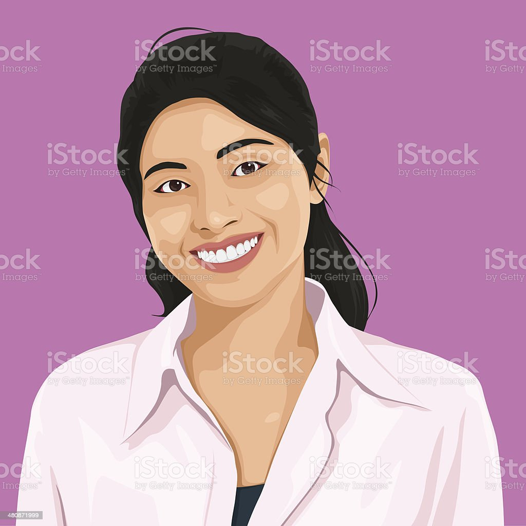 Vector of Happy Lady Portrait vector art illustration