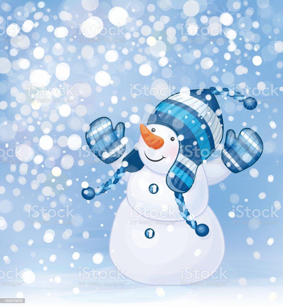 Vector of happy snowman and snowfall. royalty-free stock vector art