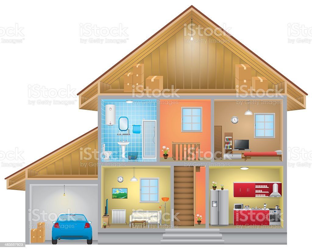 Vector of home interior with an attic and garage vector art illustration
