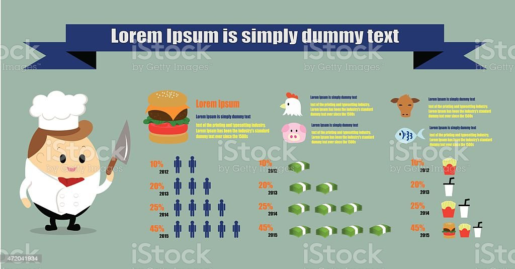 Vector of Infographic for Cooking, food, chef and restaurant concept vector art illustration