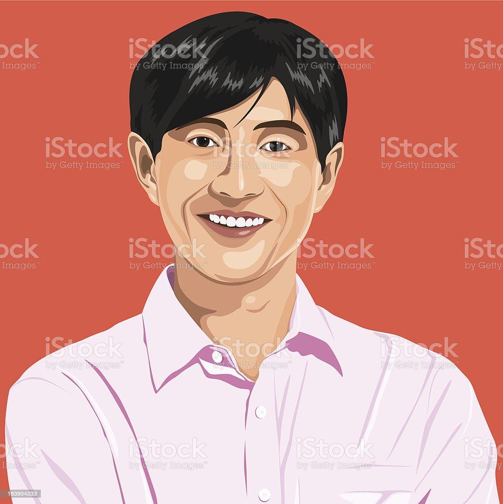 Vector of Japanese guy Portrait royalty-free stock vector art