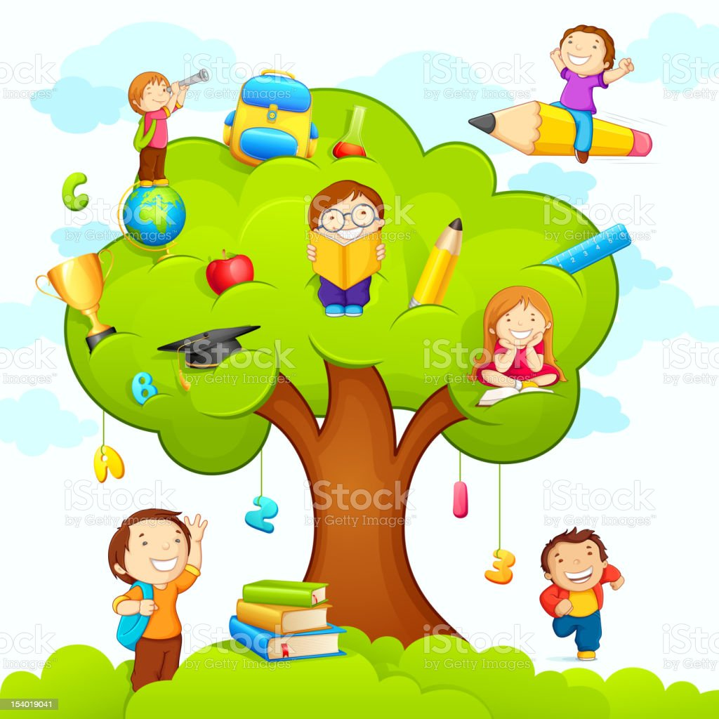 Vector of kids, tree and education symbols royalty-free stock vector art