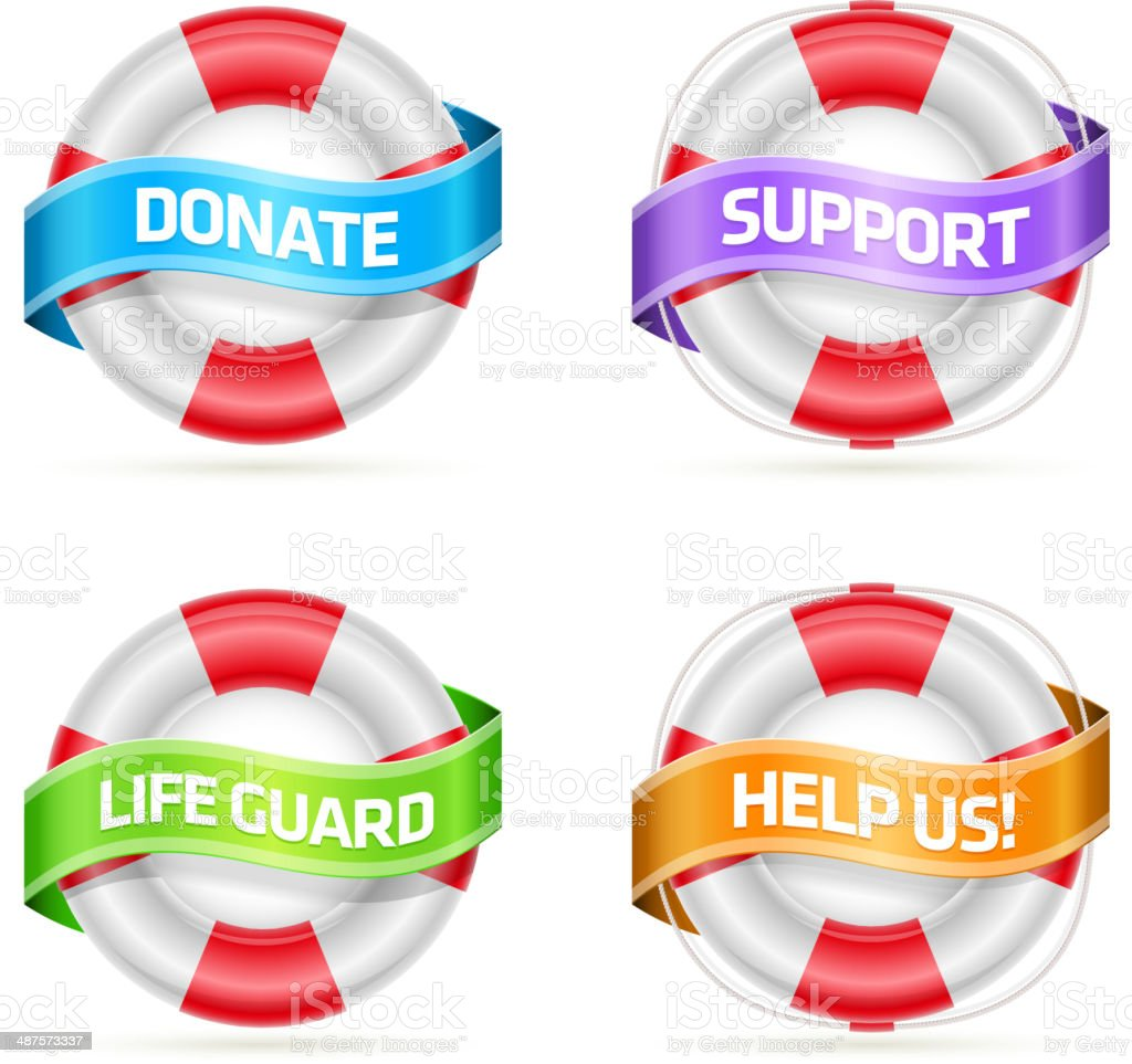 Vector of life preservers with banner and text royalty-free stock vector art