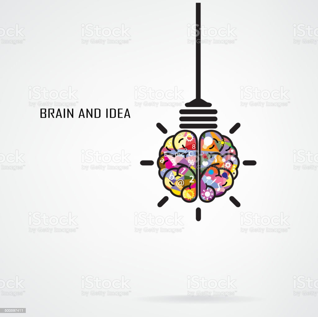 Vector of light bulb brain shape abstract vector art illustration