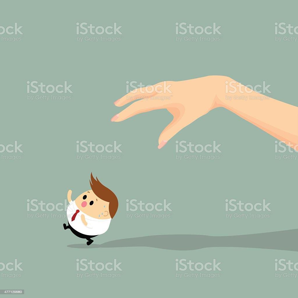 Vector of man hand chase Businessman vector art illustration