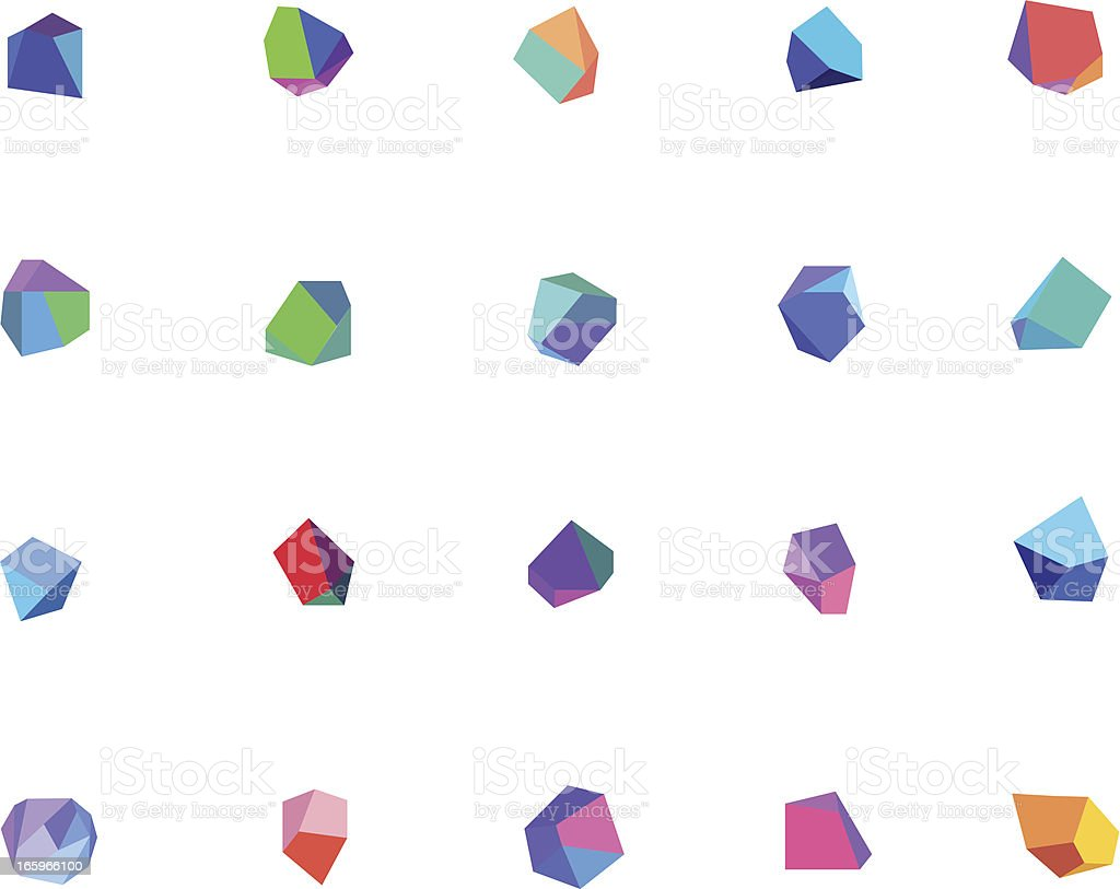 Vector of multi-colored crystals vector art illustration