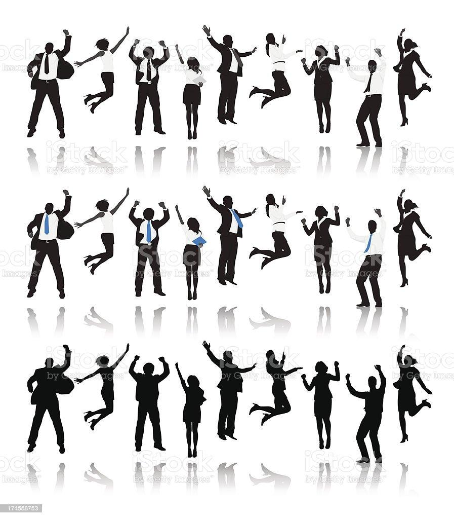 Vector of Multi-ethnic Business people Celebration vector art illustration