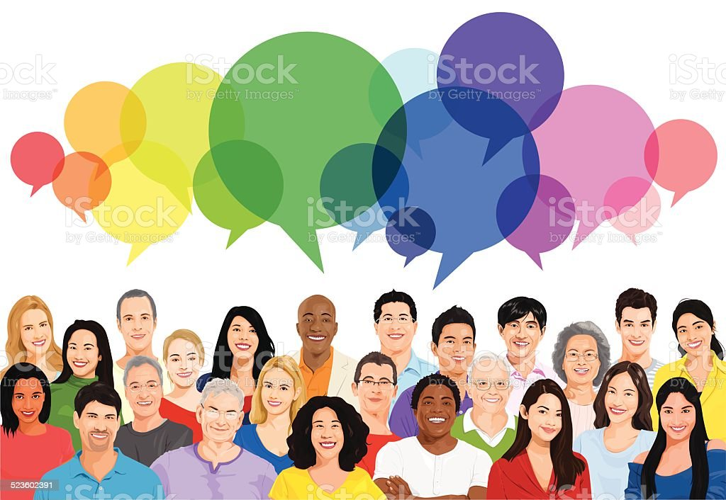 Vector of Multiethnic Diverse Cheerful People vector art illustration