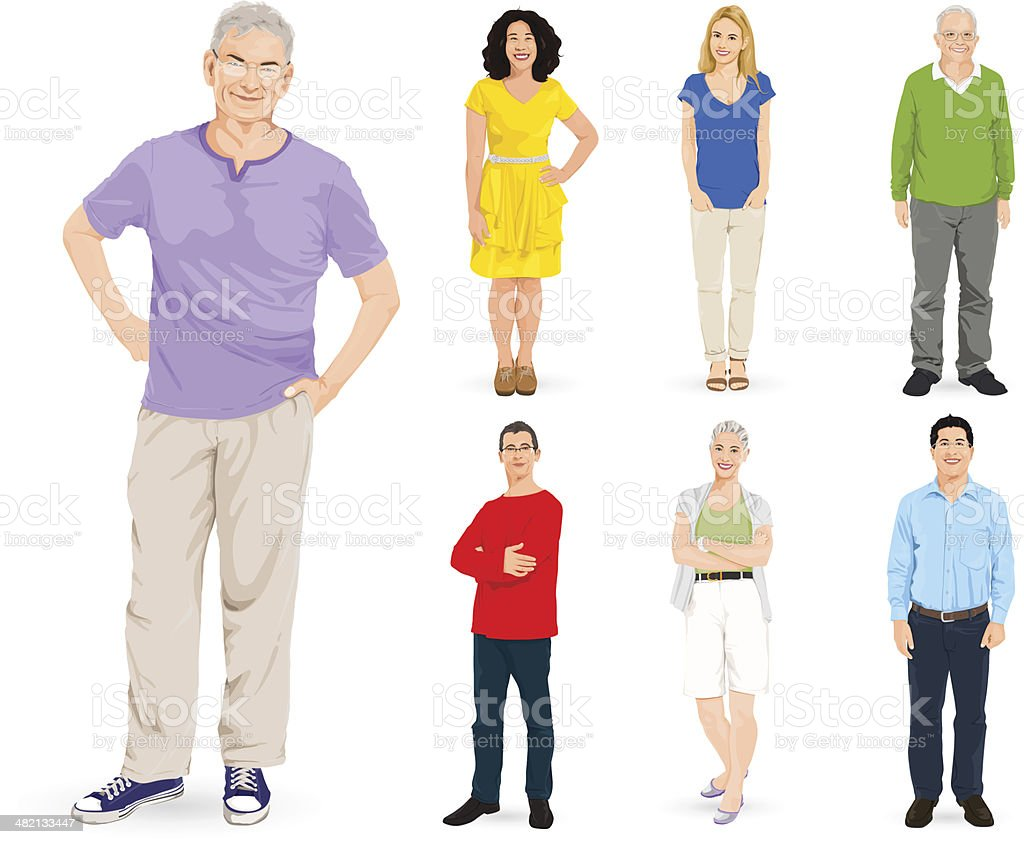 Vector of Multi-ethnic People Group vector art illustration