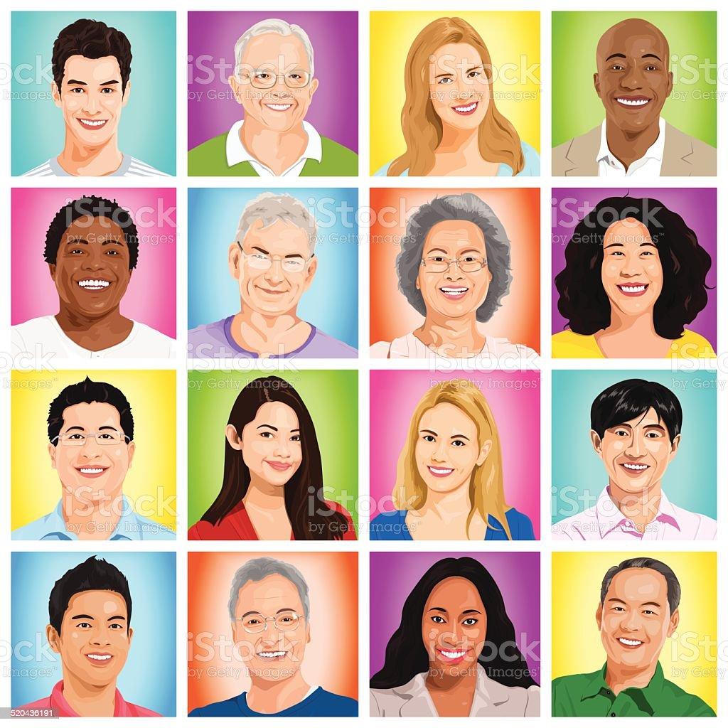 Vector of Multiethnic People vector art illustration